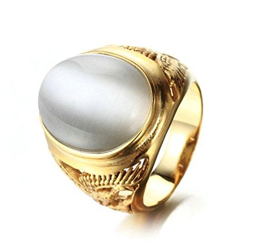 BeyDoDo Schumck Herren Ring Edelstahl Brillant Zirkonia Graviert Adler Partnerringe Gold Ring Größe 57 (Herr Irland Kostüme Der Ringe)