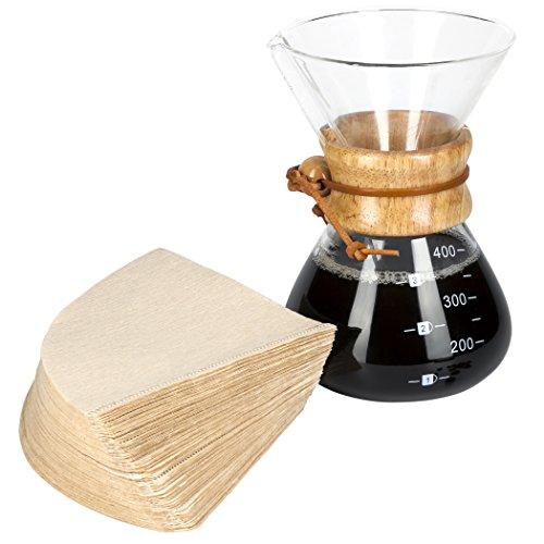 LVKH Kaffeebereiter Pour Over (400ml) Kaffeekanne mit 100 Filterpapiere (13.5 oz, small)