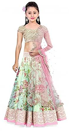 Myozz Girl Semi-Stitched Bhagalpuri Pista Lehenga Choli [Free Size Available 7 Year to 12 Year]