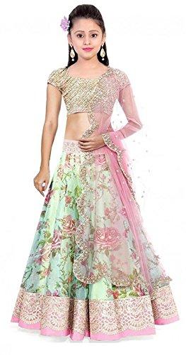 Market Magic World Girl's Pista Bhagalpuri Semi-Stitched Ethnic Lehenga Choli (Kidswear Gown_Free...