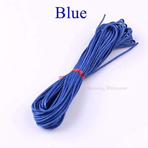 HYZKJ Seil 10 Meter 1,5 Mm Gewachste Lederfaden Wachs Baumwollkordel String Strap Halskette Seil Perle Für Shamballa Armband,Blau