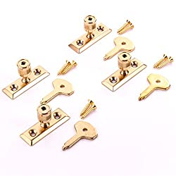 4X Brass Plated Window Stays + Keys - Wooden Frame Casement Lock Turn/Catch/Latch Fixings