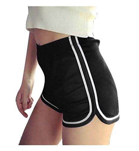 Mangotree Damen Sport Shorts Glänzende metallische Hosen Yoga Hot Shorts Aktive Lounge Shorts Tanz Shorts mit farbigen Kanten (L, Schwarz)