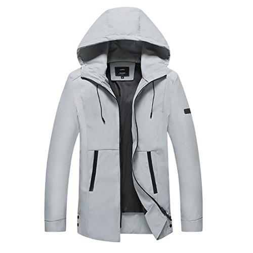 ZQ@QXUomini giacca lunga, moda cappotto con cappuccio Gray