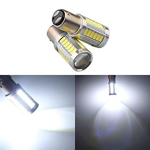 GLL 2pcs Blanc 1157 Ampoules LED P21W/5W BAY15D 2057 2357 7528 Ampoules LED avec 33-5730-SMD Pour Feux de Recul, Feux de Freinage, Feux Arrière, Clignotants (DC 9-26V)