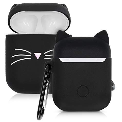 kwmobile Hülle für Apple AirPods Kopfhörer - Silikon Schutzhülle Etui Case Cover Schoner Katze Design Schwarz Weiß