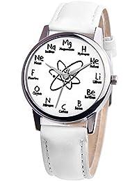 Reloj de Cuarzo Rosepoem Reloj de Cuarzo Inoxidable Fórmula química Informal PU Cuero Banda Estudiantes Negocio