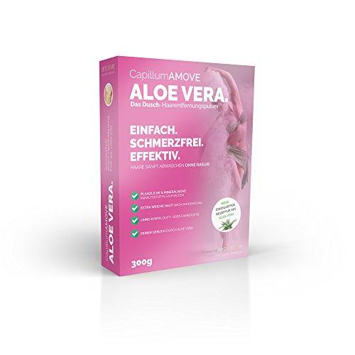 Capillum AMOVE Aloe Vera [Extra Sanft & Feuchtigkeitsspendend] 300g - Schmerzfreies Dusch Haarentfernungcreme Pulver (Körper & Intimbereich)