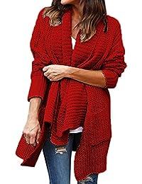 Mujer Abrigo de Punto Irregular - Otoño Invierno de Gran tamaño Suelta Manga Larga Chunky Cardigan Suave y Acogedor Elegante Prendas de Abrigo Suéter de Solapa