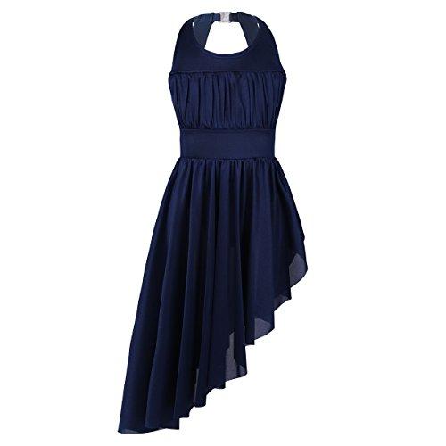 (iixpin Kinder Ärmellos Ballettkleid mit luftigem Röckchen Ballett Trikot Ballettanzug Tanz Kostüm, 3-14 Jahre Dunkel Blau 110-116/5-6 Jahre)
