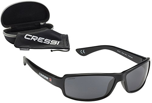 Cressi Ninja, Lunettes de Soleil Sport Homme Polarisées anti UV - Noir/Lentilles Gris Foncé