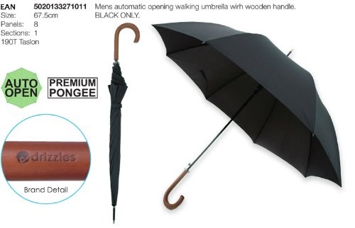 Business Herren Regenschirm Stockschirm mit Holzgriff + Metallspitze schwarz Spazierschirm / automatik classic Walking Umbrella