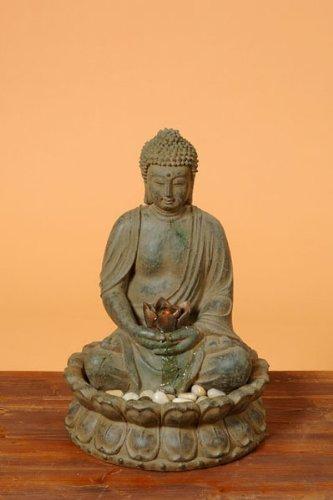 Buddha Brunnen mit LED Beleuchtung, Höhe 50cm Aussen geeignet
