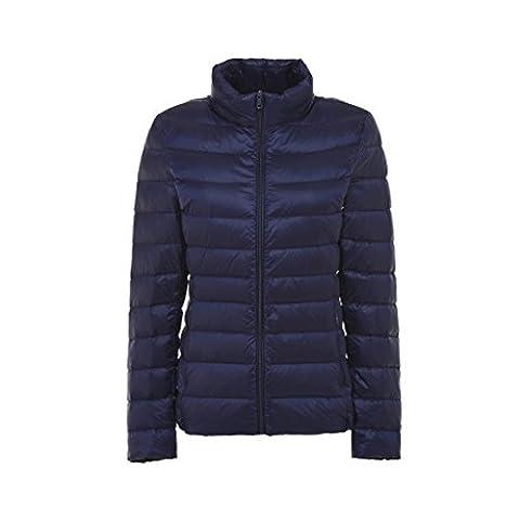 YY-Rui Women's Down Puffer Jacket Down Lightweight Warm Stand Collar Winter Coat Deep Blue S