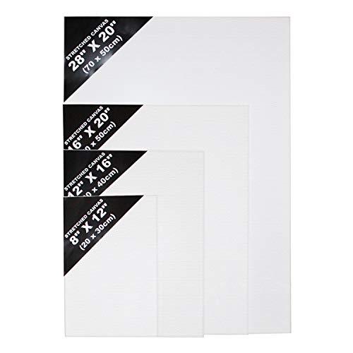Leinwand Set - 4 Pcs Weiße Künstler Leinwände - Leinwand Tafeln in Verschiedenen Größen (70 x 49,5cm, 40 x 49,5cm, 30 x 40cm, 20 x 30cm) für Malerei, Acrylgießen, Ölfarben & Nasse Kunstmedien