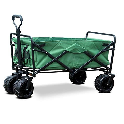 Tragbarer Einkaufswagen für den Außenbereich Anhänger mit Vier Rädern Faltbarer Wagen mit Aufbewahrungstasche (Color : Green)