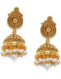PANASH Gold-plated Dome Shaped Jhumkas