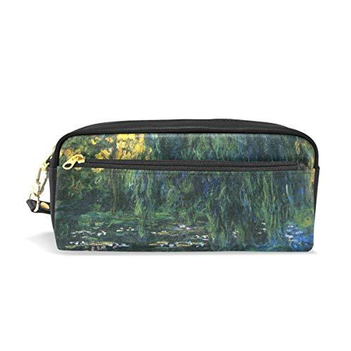 Ahomy Monet's Weeping Willow and Seerose Pond Stifteetui, Doppelreißverschluss, groß, Make-up, Kosmetik, Schreibwaren, Aufbewahrungstasche für Mädchen Jungen und Frauen - Willow Pond