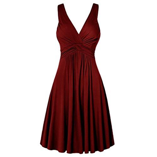 XuxMim Damen Ärmellose Formale Damen Damen Hochzeit Brautjungfer Spitze langes Kleid(Rot,XXXXX-Large - Formale Pin Dot
