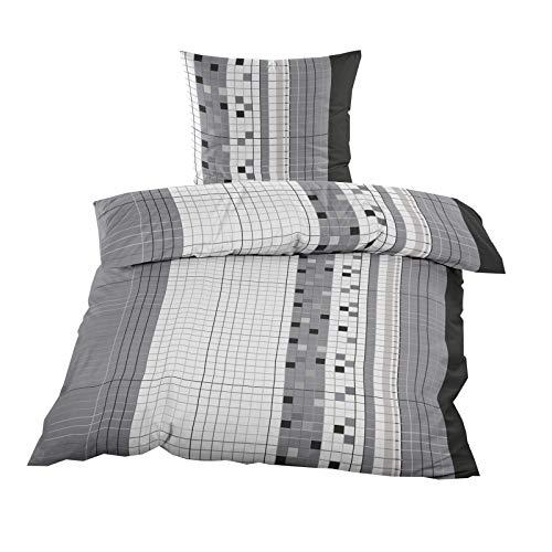 2 oder 4 TLG. Biber Bettwäsche mit RV aus 60% Baumwolle & 40% Polyester 135×200 cm Grau kariert