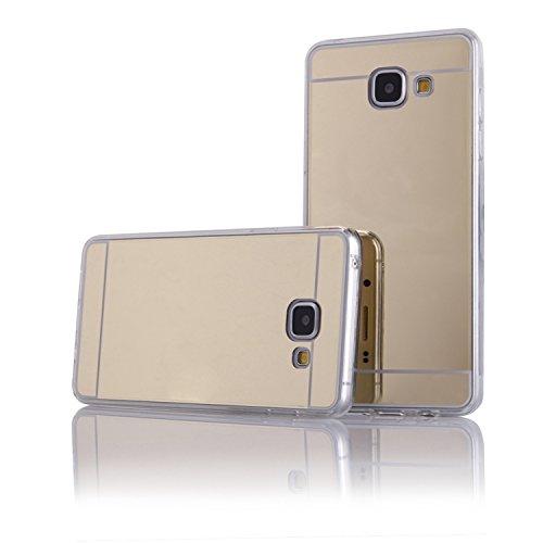 """Preisvergleich Produktbild Handy Silikon Hülle TPU Back Case Schutzhülle transparent """"Mirror gold"""" für """"Samsung Galaxy A3 (2016)"""" Cover Schale Tasche Bumper"""