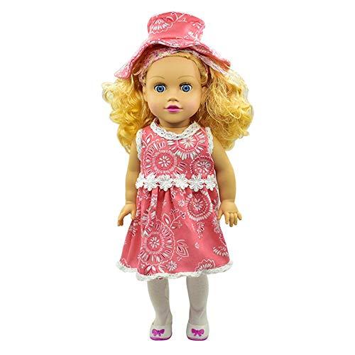 Puppenkleidung Mädchen Puppenkleid für 18-Zoll-Puppen, enthält Hawaii-Stil Lace Floral bedrucktes Kleid und Hut -