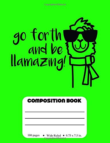azing: Wide Ruled Llama Composition Book for Kids ()