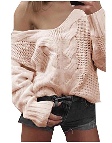 Deep V-neck Knit Top (CuteRose Women's Knitted Solid Stitch Long Sleeve Deep-V Neck Knitwear Pink S)