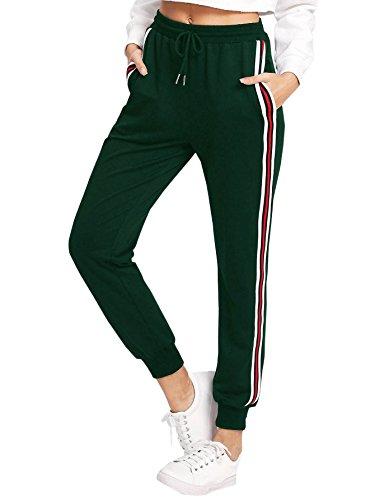 ddfcc7832dfa DIDK Damen Hosen Sporthose Casual Streifen Sweathose Elastischer Bund  Jogginghose mit Taschen Grün S