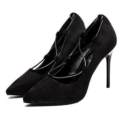 W&LM Mme Talons hauts Plateforme étanche D'accord Chaussures individuelles Sangle Pointe Bouche superficielle Chaussure Black