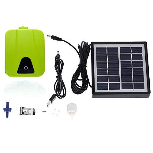 Volwco Bomba de Aire Solar de oxígeno Estanque - Kit de Bomba de oxígeno aireador de 1,8 W 1 Piedra jardín, Acuario, Tanque de Peces