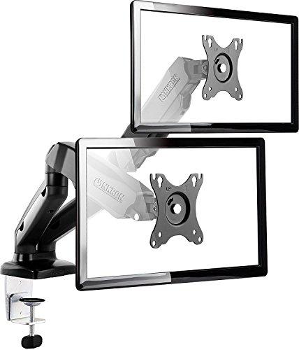 """ONKRON Dual Monitor Tischhalterung Monitorhalter mit Gasdruckfeder für 2 OLED LED LCD Bilschirme Monitore 17""""-27"""" Zoll VESA 75x75 und 100x100 Belastbarkeit bis 6,5 kg Mobil G160 Schwarz"""