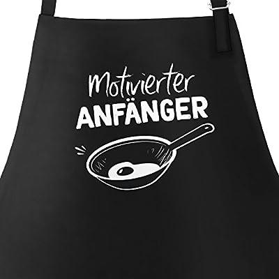 MoonWorks Grill-Schürze für Männer mit Spruch Motivierter Anfänger Grillanfänger Kochanfänger Grillen Kochen Baumwoll-Schürze Küchenschürze