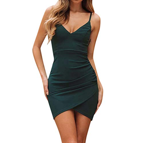 NINGSANJIN Rockabilly Kleider Damen gr 46,Kleider Hochzeit Damen,Sommer Kleider für Damen mit Kragen,Grün ()