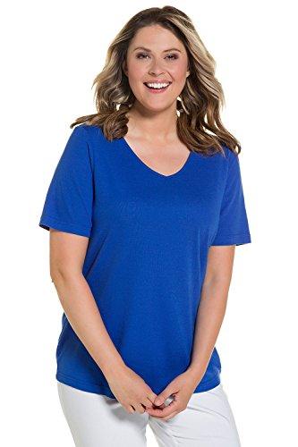 Ulla Popken Damen große Größe bis XXXL, T-Shirt, Unterziehshirt, Jersey-Shirt, Basic , Slim Fit , V-Ausschnitt, Halbarm , 704316 Meerblau