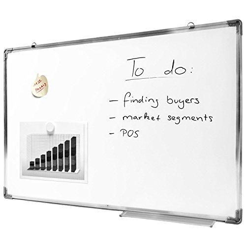 Offize Wizard Profi Whiteboard (60 x 90 cm) mit abwischbarer Oberfläche - Memoboard Magnet-Tafel Notenständer Magnethafend mit Alu-Rahmen und Stiftablage