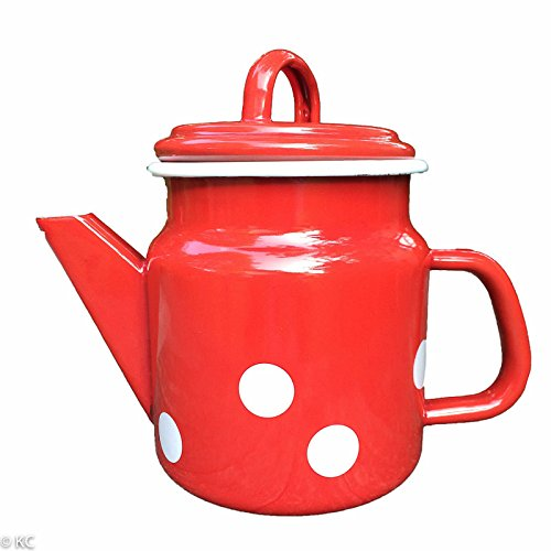 Münder-Emaille - Teekanne - Rot mit weißen Tupfen - Ø12xH17cm - 1 L