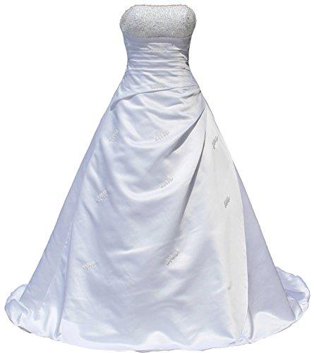 FairOnly R30 Frauen Trägerlosen Kristall Weiß Brautkleider (XL)