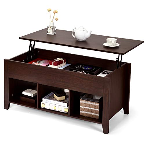 COSTWAY Couchtisch höhenverstellbar, Sofatisch mit Ablagefächer, Beistelltisch aus Holz, Kaffeetisch Teetisch für Wohnzimmer Balkon Flur, braun