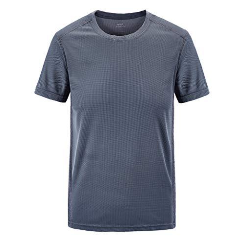 kolila Herren Mens T-Shirt Tops Sport Schnell trocknend Atmungsaktives T Hemden Einfarbig Lose Rundhalsausschnitt Kurzarm Plus Size Übergroße M-7XL(Grau,8XL) (Für Hippie-stirnbänder Männer)
