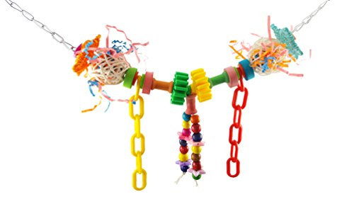 Preisvergleich Produktbild Spielzeug für Hamster Papagei Schaukel, Leiter der Aufstieg Dinosaurier Stroh Papier gebürstet Color Block Kette Bird Zugbrücke Durable Nibbl Leiter aus Holz Brücke color Granular Medium klein Papagei-Spielzeug