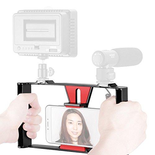 Neewer 10090225, Custodia Rig Vlogging per registrazione video, Stabilizzatore impugnatura palmare con supporto per piede fisso, Nero + Rosso