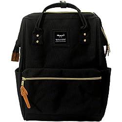 Mochila para portátil Estilo Mochila Escolar Retro de poliéster de Color Negro Apta para portátiles de 14 Pulgadas