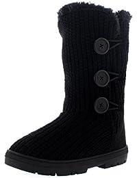 Mujer 3 Botón Clásico Lluvia Nieve Forrada De Piel Zapato Invierno Bota