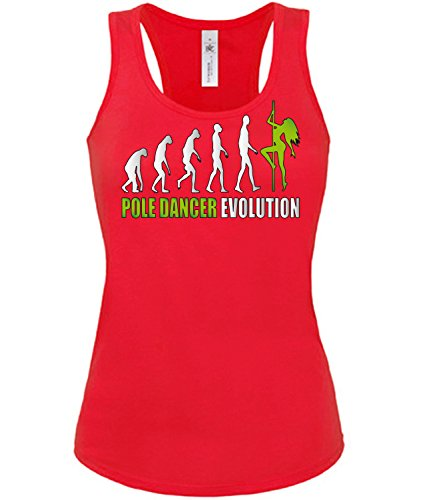 love-all-my-shirts Pole Dancer Evolution 2023 Tanzsport Damen Fun Tank Top Funshirt Rot aufdruck Grün S