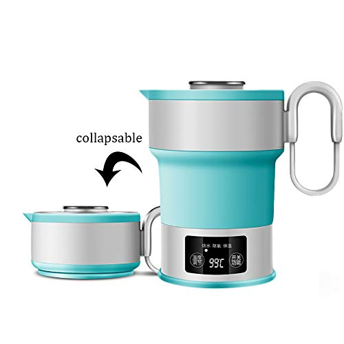 ZEMER Wasserkocher 0.6L Reise Faltbare Edelstahl Teekanne Schnell Kochendes Wasser,Portable Silikon Zusammenklappbar Camping Wasserkocher Mit Auto-Abschaltung und Isolierung Funktion