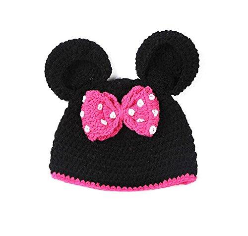 Baby Strick Kostüm Fotoshooting Fotos Mütze Minnie Maus Schwarz Pink (BK016)