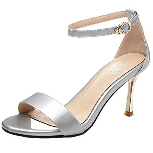 ENMAYER Femmes Cuirs Cheville Block Talons Bout Ouvert à Boucles Fashion Chaussures Sandales Office de Plate - Forme Argent #2