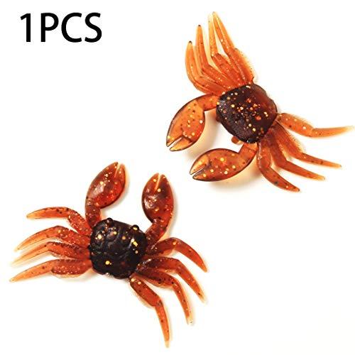 FloralLive 1PC Simulation 8cm 7.8G Crab falsche Köder PVC weiche Fisch-Köder-Angelausrüstung Angel Acessories Farbe Random -
