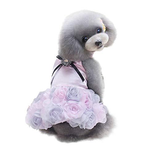 YWLINK Haustier Hund Kleid Mit 3D Rosenmuster Kleider Katze Patchwork Atmungsaktives Elegant Prinzessin Kleid(XL,Rosa)